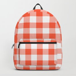 Jumbo Living Coral Color of the Year Orange and White Buffalo Check Plaid Backpack