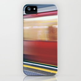 Speeding in London Underground Station iPhone Case