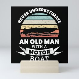 Funny Old Man with a Motor Boat Gift Mini Art Print