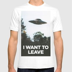 I want to leave White Mens Fitted Tee MEDIUM