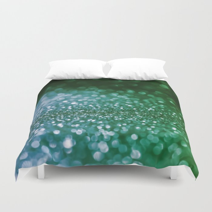 Aqua Glitter effect- Sparkling print in green and blue Duvet Cover