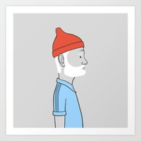 steve zissou Art Prints featuring Steve Zissou by Antoine Dutilh