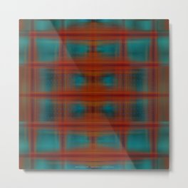 Night Swimming Plaid Metal Print