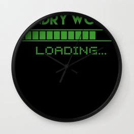 Laundry Worker Loading Wall Clock