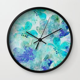 blue turquoise mixed media flower illustration Wall Clock