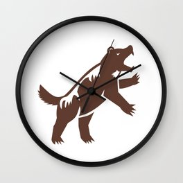 Wolf Standing Hind Legs Retro Wall Clock
