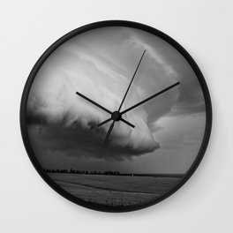 Cape Tryon Vortex Black and White Wall Clock