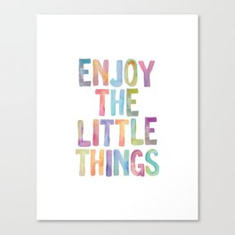 Enjoy the Little Things Watercolor Rainbow Design Inspirational Quote bedroom Wall Art Home Decor Canvas Print