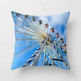 Ferris Wheel In Blue Sky  Throw Pillow