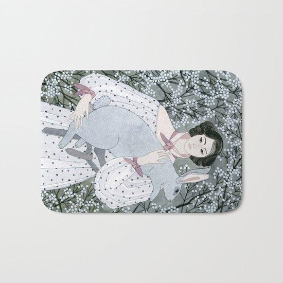 Girl and rabbit among flowers Bath Mat