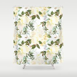 Modern yellow ivory green hand painted roses floral Shower Curtain