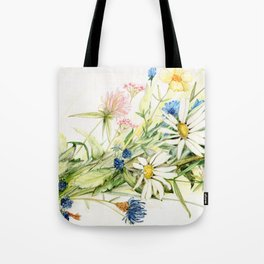 Bouquet of Wildflowers Original Colored Pencil Drawing Tote Bag