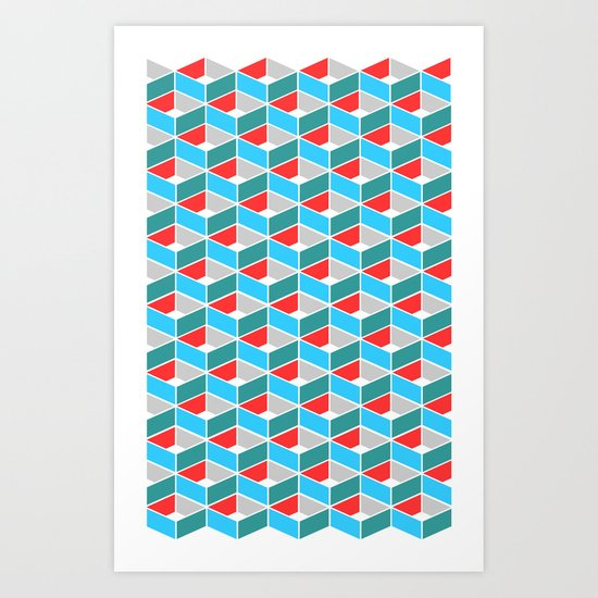 Simple Pattern Blue and Red Art Print
