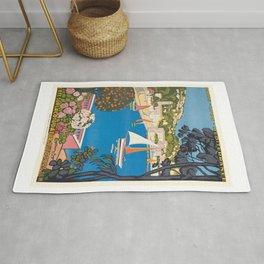 1926 FRANCE Summer On The Cote D'Azur Travel Poster Rug