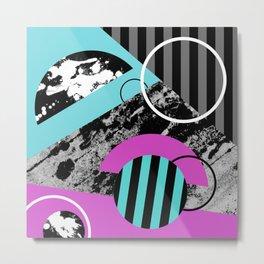 Bits N Pieces III - Abstract, geomtric, random, textured, stripes, black, pink, cyan, artwork Metal Print