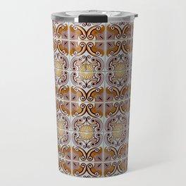 Close-up of ceramic wall tiles in Tavira, Portugal Travel Mug