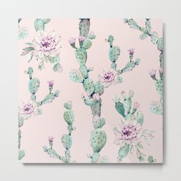 Cactus Rose Pattern on Pink Metal Print