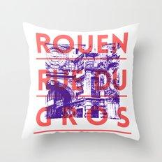 Rouen rue du Gros Throw Pillow