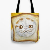 snoopy Tote Bags featuring Snoopy aka Breadcat - Cats with Moustaches by Megan Mars