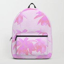 Pink Palm Trees Coastal Pattern Backpack