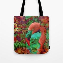 """""""Tropical Floral Retro Flamenco"""" Tote Bag"""