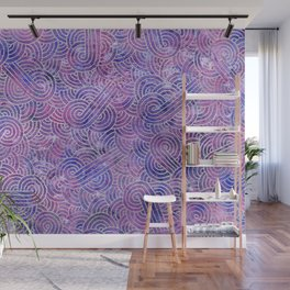 Purple and faux silver swirls doodles Wall Mural