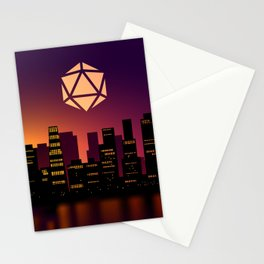 Synthwave Cityscape D20 Dice Full Moon Tabletop RPG Landscape Stationery Cards