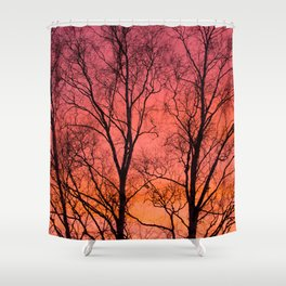 Tree Silhouttes Against The Sunset Sky #decor #society6 #homedecor Shower Curtain