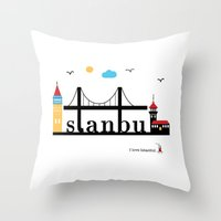 istanbul Throw Pillows featuring Istanbul.  by Irmak Berktas