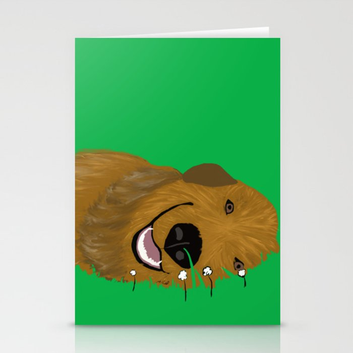 Golden Doodle in Grass Stationery Cards
