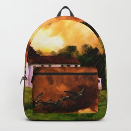 Watercolor Farm Sunset (Color) Backpack