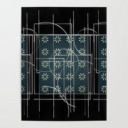 Black Green Grey Digital Daisy Abstract Poster