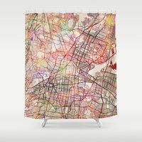 mexico Shower Curtains featuring Mexico by MapMapMaps.Watercolors