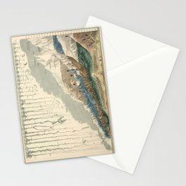 1854 Comparative Lengths of Rivers and Heights of Mountains Stationery Cards