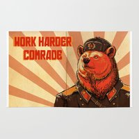 soviet Area & Throw Rugs featuring Work Harder, Comrade! by April Schumacher