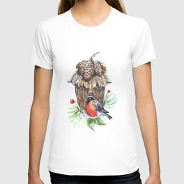Bullfinch in the background of a cozy bird house. T-shirt