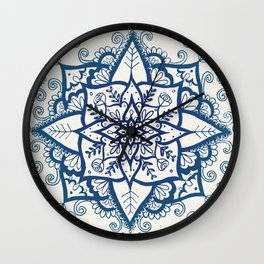Blue Floral Pattern on Cream Wall Clock