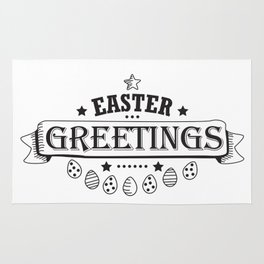 Easter Greetings Black Style Design Funny Easter Outfit Rug