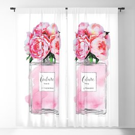 Perfume, watercolor, perfume bottle, with flowers, pink, Silver, peonies, Fashion illustration Blackout Curtain