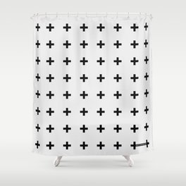 Black Plus on White /// Black n' White Series Shower Curtain