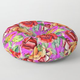 Red orange green watercolor floral roses pattern Floor Pillow