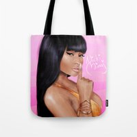 nicki Tote Bags featuring Queen Nicki by Hanna Nordin