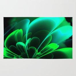 Stylized Half Flower Green Rug