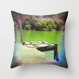 Dilapidated wharf on a tranquil river Throw Pillow