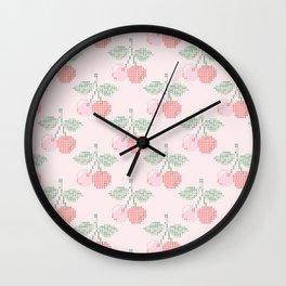 Cherry Cross Stitch Pattern on pink Wall Clock