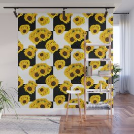 Large Check Yellow Sunflower Floral with Black and White Checkered Summer Print Wall Mural