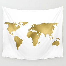 Gold Foil Map - Metallic Globe Design Wall Tapestry