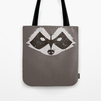 rocket raccoon Tote Bags featuring Rocket Raccoon - Log Trap by d00d it's jake