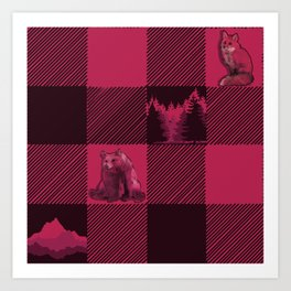 Fox and Bear Plaid #2 RED Art Print