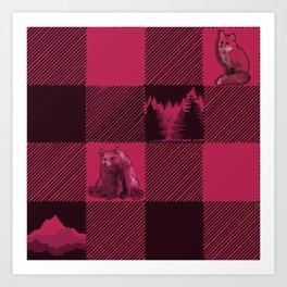 Fox and Bear Plaid #2 RED Art Print
